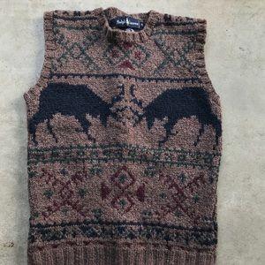 Polo Ralph Lauren heavy wool vest reindeer sweater